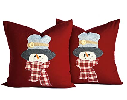 two snowman pillow covers holiday pillows christmas pillow decorative pillow cushion