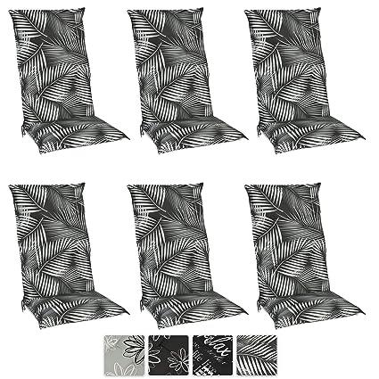 Beautissu Set de 6 Cojines para sillas de Exterior y jardín con Respaldo Alto Tropic 120x50x6 cm tumbonas, mecedoras, Asientos cómodo Acolchado ...