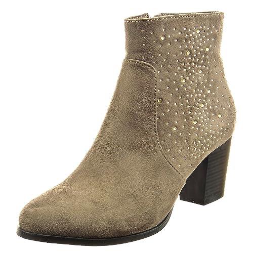 Sopily - Zapatillas de Moda Botines Tobillo Mujer Strass Talón Tacón Ancho Alto 6.5 CM - Taupe CAT-3-PN1514 T 41: Amazon.es: Zapatos y complementos