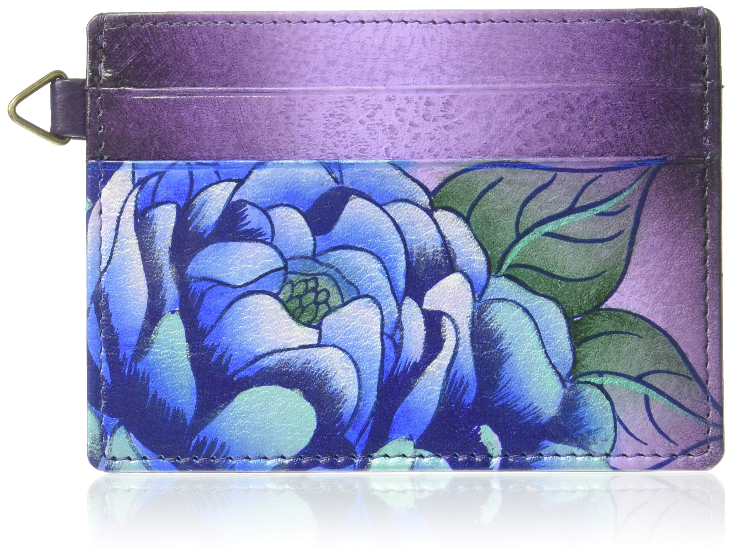 Anna by Anuschka Hand Painted Leather Women's Credit Card CASE, Precious Peonies Eggplant