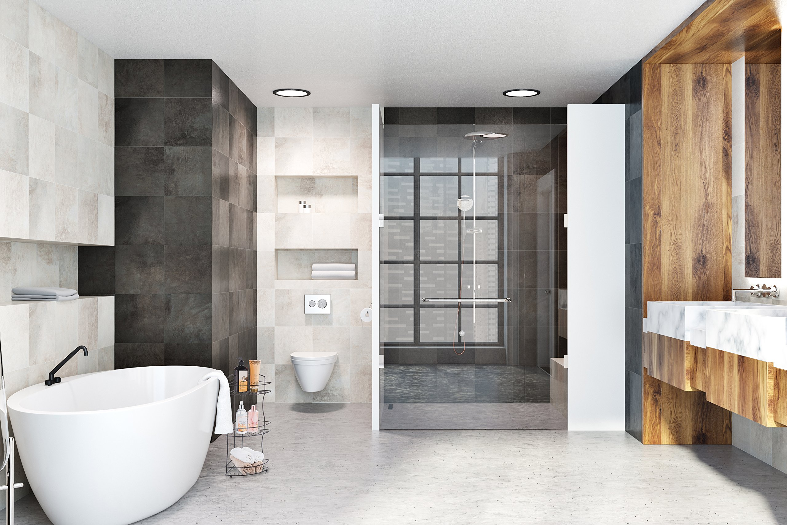 AMG and Enchante Accessories Free Standing Bathroom Spa Tower Floor Caddy, FC232-A BKN, Black Nickel by AMG (Image #4)