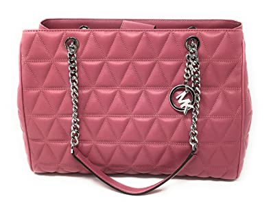 3673100484a144 MICHAEL KORS VIVIANNE LARGE Quilted Leather Tote Shoulder Bag Tulip:  Handbags: Amazon.com