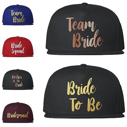 25459bee2c8 Team Bride Caps Baseball Snapback Hen Party Night Hats Bride To Be Crew  Squad Tribe  Amazon.co.uk  Handmade