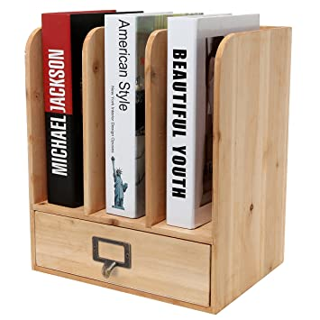 Rustic Freestanding Wood Tabletop Bookshelf / Magazine / File Folder  Organizer Rack With Storage Drawer