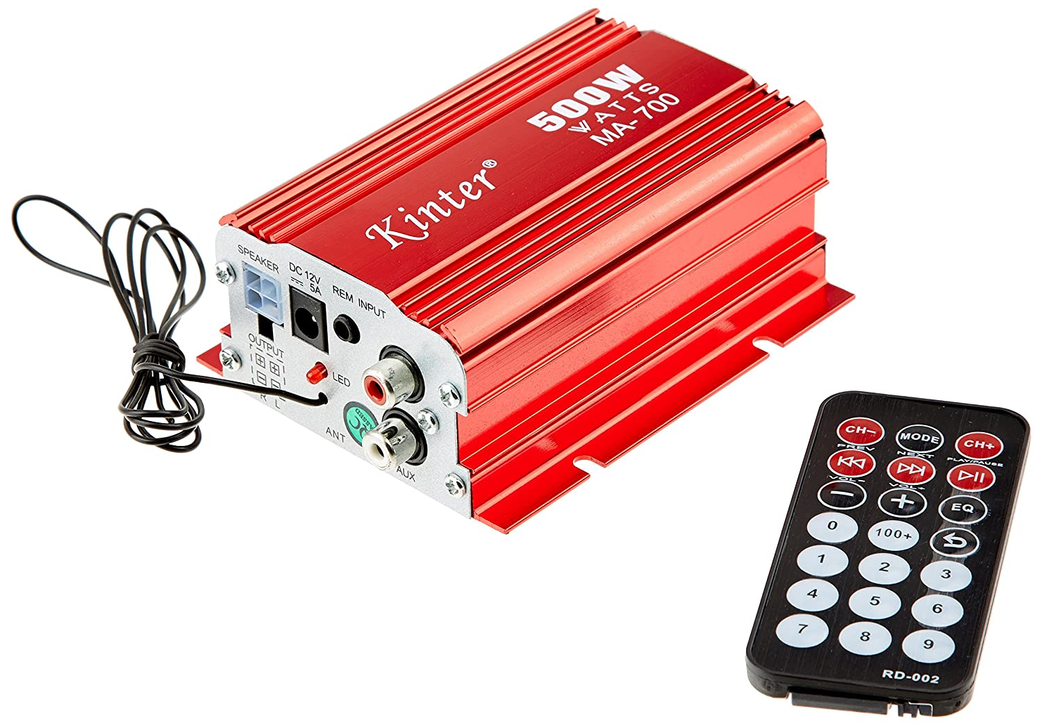 Kinter MA-700 - Amplificador hí brido (500 W, doble canal, USB), color rojo Kinter Spain MA 700