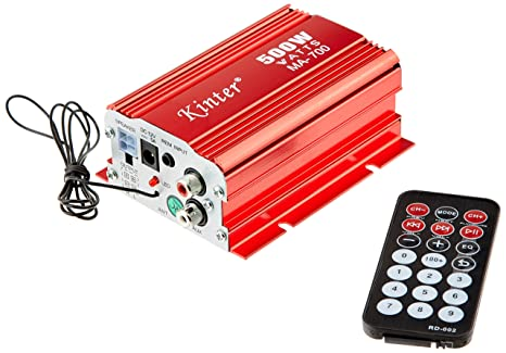 Kinter MA-700 - Amplificador híbrido (500 W, Doble Canal, USB), Color Rojo