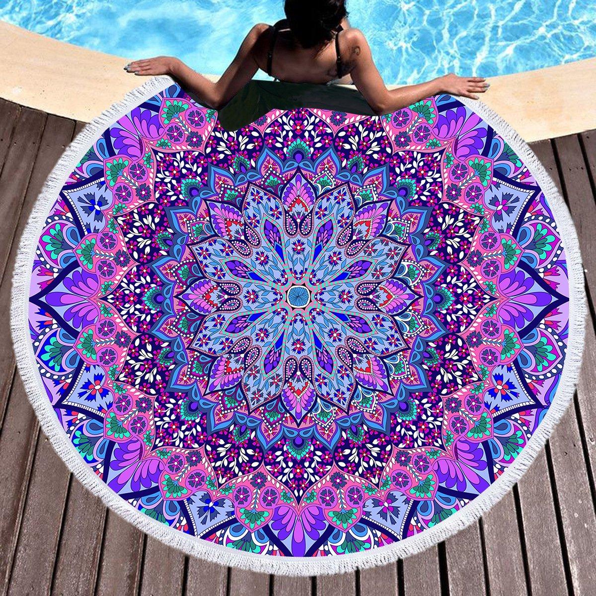 Sleepwish Ombre Beach Towel Indian Wall Hanging Beach Throw Tapestry Yoga Mat Mandala Large Round Beach Blanket with Tassels (Purple Blue, 60'')