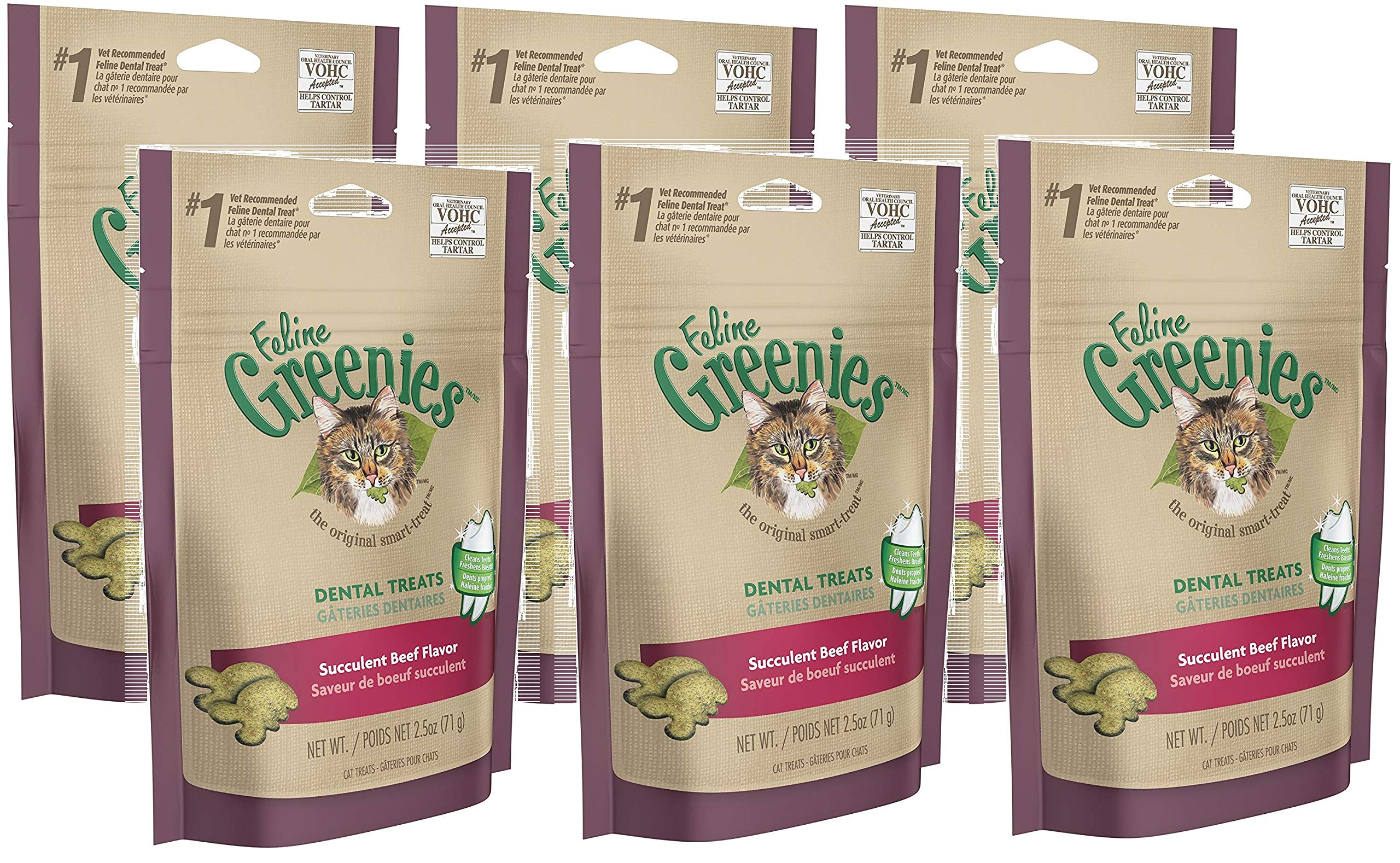 Feline Greenies Dental Cat Treats Beef 2.5 oz 6 Pack