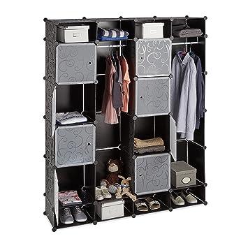Relaxdays Kleiderschrank Stecksystem, 20 Fächer, Kunststoff, großer ...