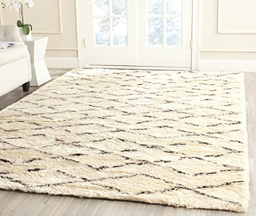 Safavieh Casablanca Shag Collection CSB847A Handmade Ivory and Brown Premium Wool Cotton Area Rug 4 x 6