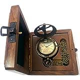 Artshai Ultimate Sundial Edition Antique Look Pocket Watch with Sheesham box
