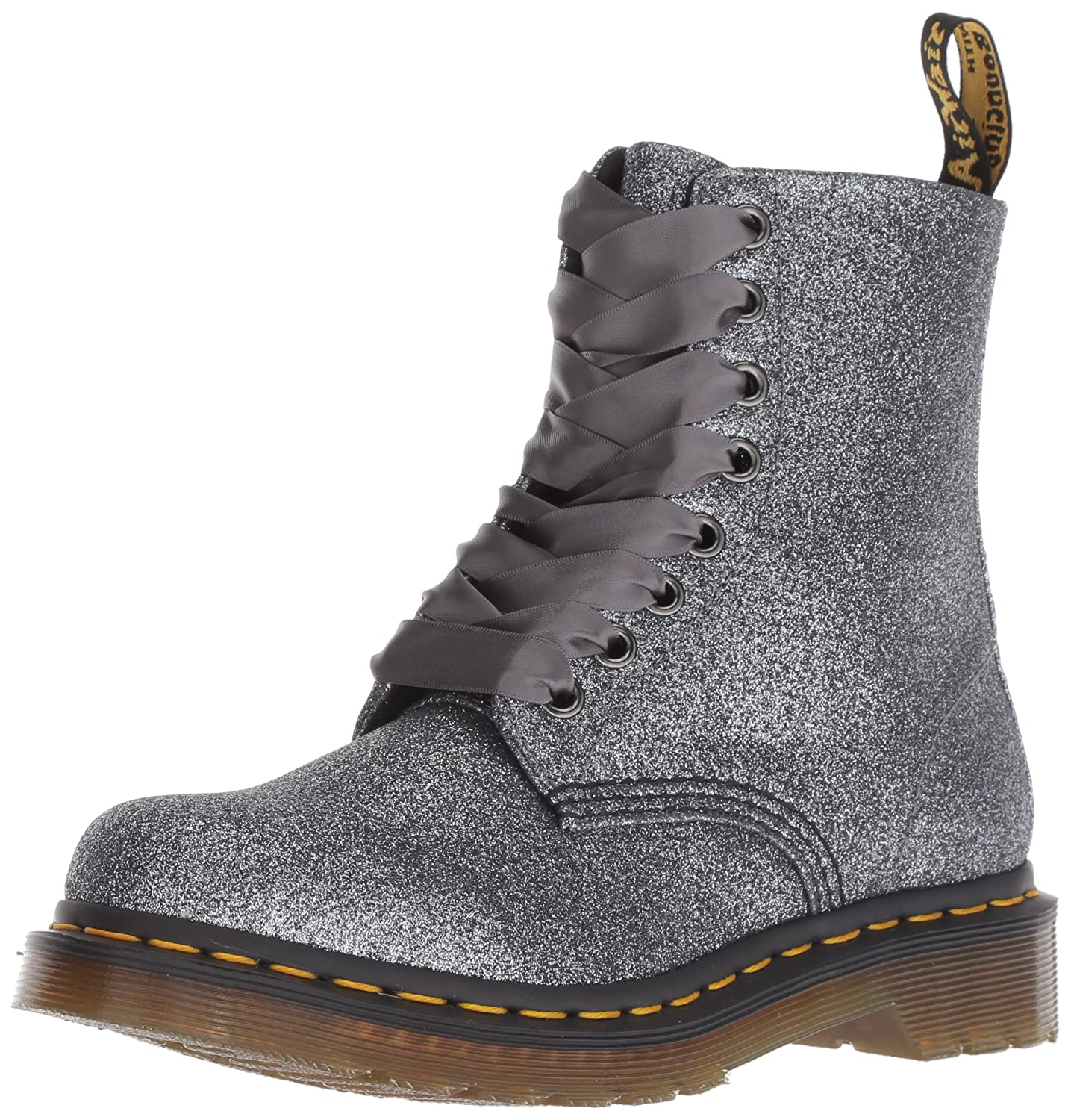Dr. Martens Women's 1460 Pascal Glitter Mid Calf Boot B0798LBHXV 3 M UK (5 US)|Pewter