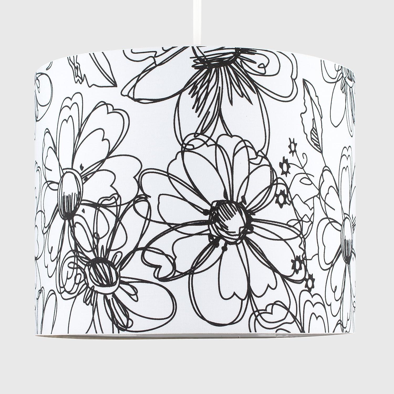 Cordon /électrique Non-Fourni Tambour Finition en Tissu Blanc D/écor/é avec Diamante MiniSun Abat-Jour pour Suspension ROLLER Design Contemporain