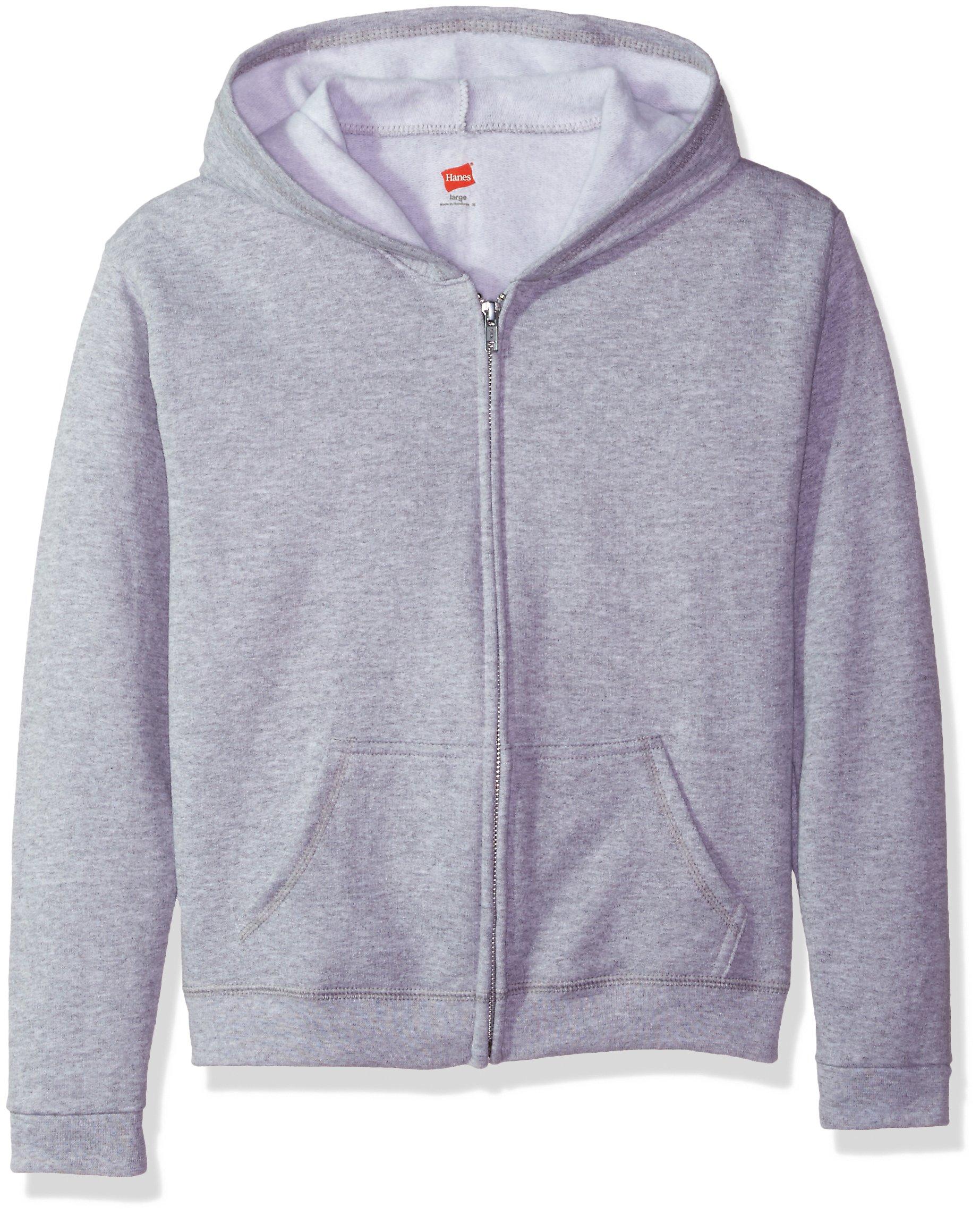 Hanes Big Girls' ComfortSoft EcoSmart Full-Zip Hoodie, Light Steel, Medium