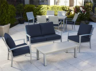 Aluminum Top Table COSCO 87637GRYE Outdoor LivingINTELLIFIT 7 Piece Steel Woven Wicker Compact Folding Patio Dining Set Steel Frame Gray and Navy Resin Wicker