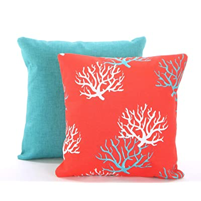 Flowershave357 Outdoor Pillow Covers Aqua Coral Throw Pillow Cushions Aqua Redish Coral White Isadella Jackson Patio Sunroom Set of Two: Kitchen & Dining