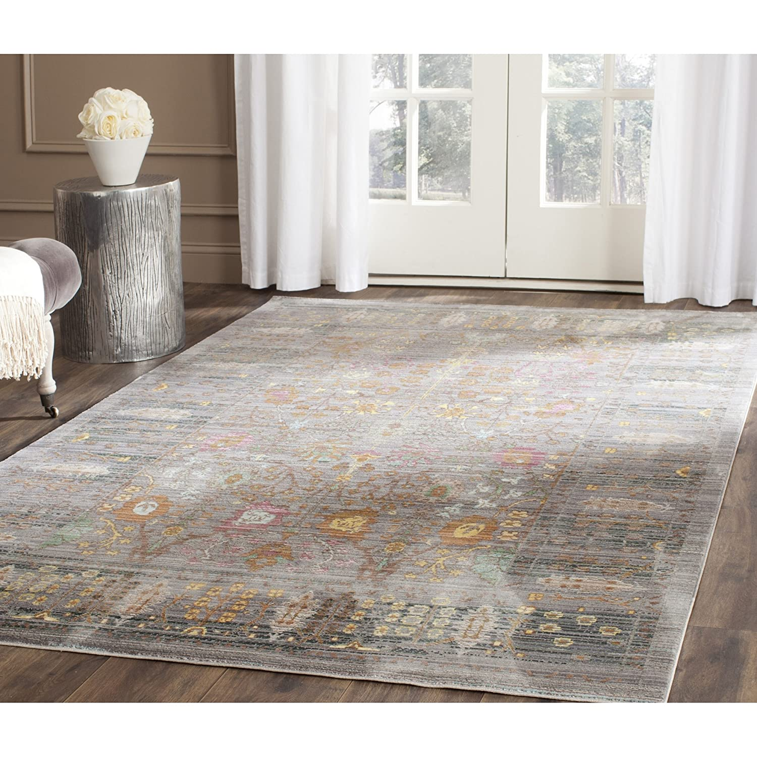 Amazon.com: Safavieh Valencia Collection VAL108C Grey And Multi Vintage  Distressed Silky Polyester Area Rug (8u0027 X 10u0027): Kitchen U0026 Dining