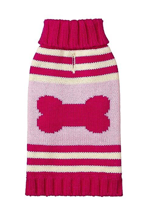 Amazon.com : Fab Dog Knit Turtleneck Dog Sweater Striped Bone, Hot ...