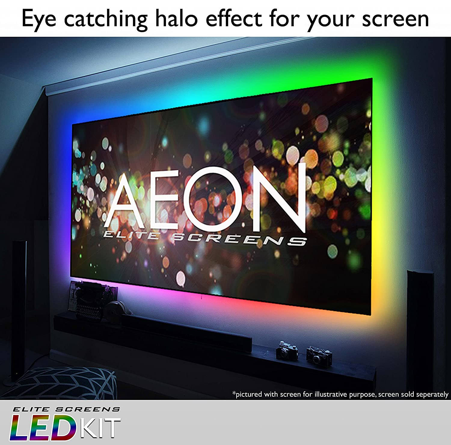 Elite Screens Aeon Series ZLED100H1 LED Backlight Kit Optional Accessory for 100-inch 16:9 models 2016 NEW Version