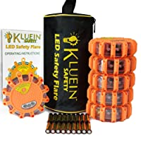 Kluein Safety LED Road Flares (6 Pack) with Storage Bag & 18 Batteries Included – Flashing Warning Roadside Emergency Disc Beacon 9 modes + Flashlight, Magnetic Base & Hook for; Car RV Truck Boat Bike