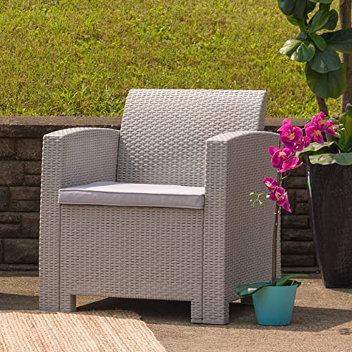 Flash Furniture Light Gray Faux Rattan Chair with All-Weather Light Grey Cushion