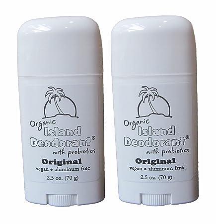 Organic Island Deodorant Original Formula, 2 Pack, Probiotic Deodorant Stick, Natural, Aluminum-Free, Unscented, Vegan Two Sticks