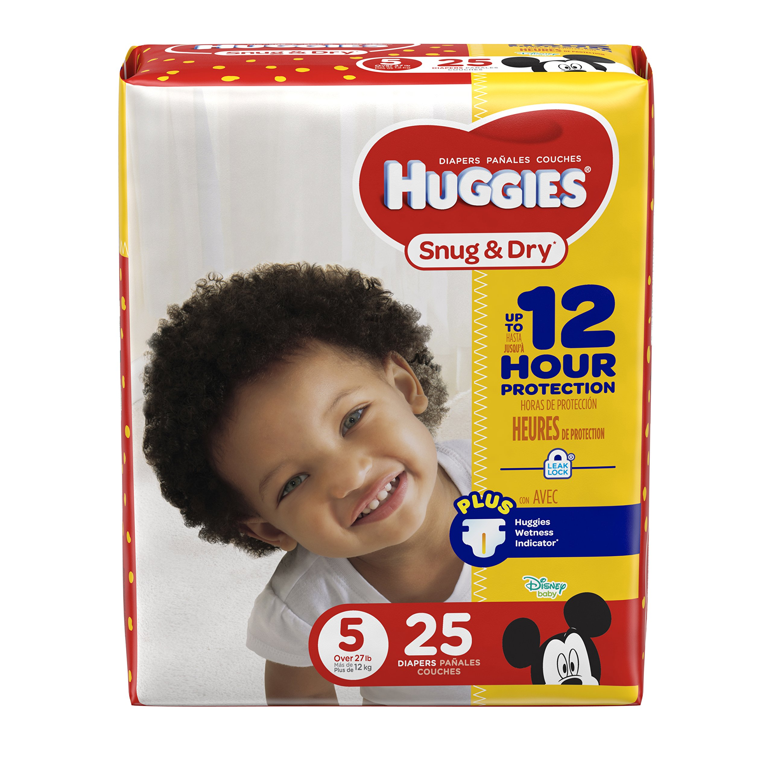HUGGIES Snug & Dry Diapers, Size 5, 25 Count, JUMBO PACK (Packaging