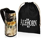 AleHorn Original Handcrafted Authentic Viking Drinking Horn Tankard for Beer Mead Ale - Genuine Medieval Inspired Stein…