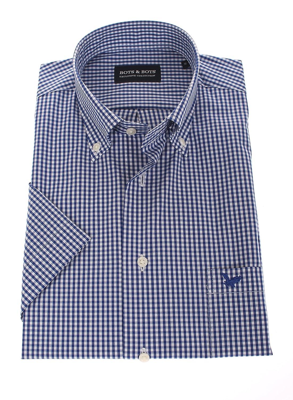Bots & Bots 178622 Camicia Uomo - Manica Corta - Comfort Stretch - 97% Cotone/3% Lycra - Button Down - Normal Fit