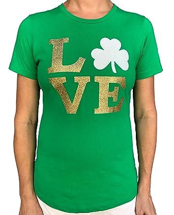 8ca6a8ebc SoRock Women's ST. Patrick's Day Glitter Love Shamrock T-Shirt Green ...