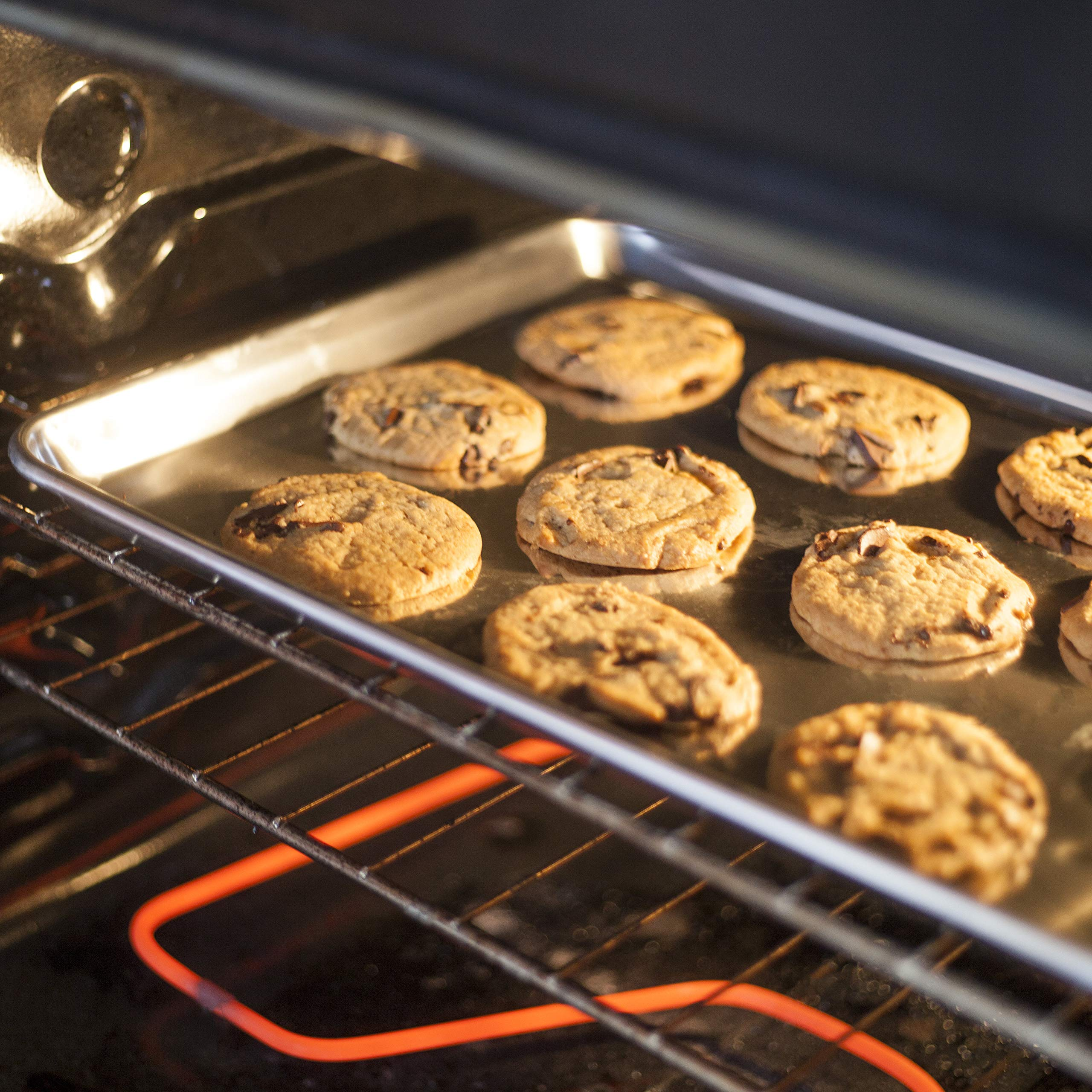 KITCHENATICS Baking Sheet with Cooling Rack: Half Aluminum Cookie Pan Tray with Stainless Steel Wire and Roasting Rack - 13.1'' x 17.9'', Heavy Duty Commercial Quality by KITCHENATICS (Image #5)