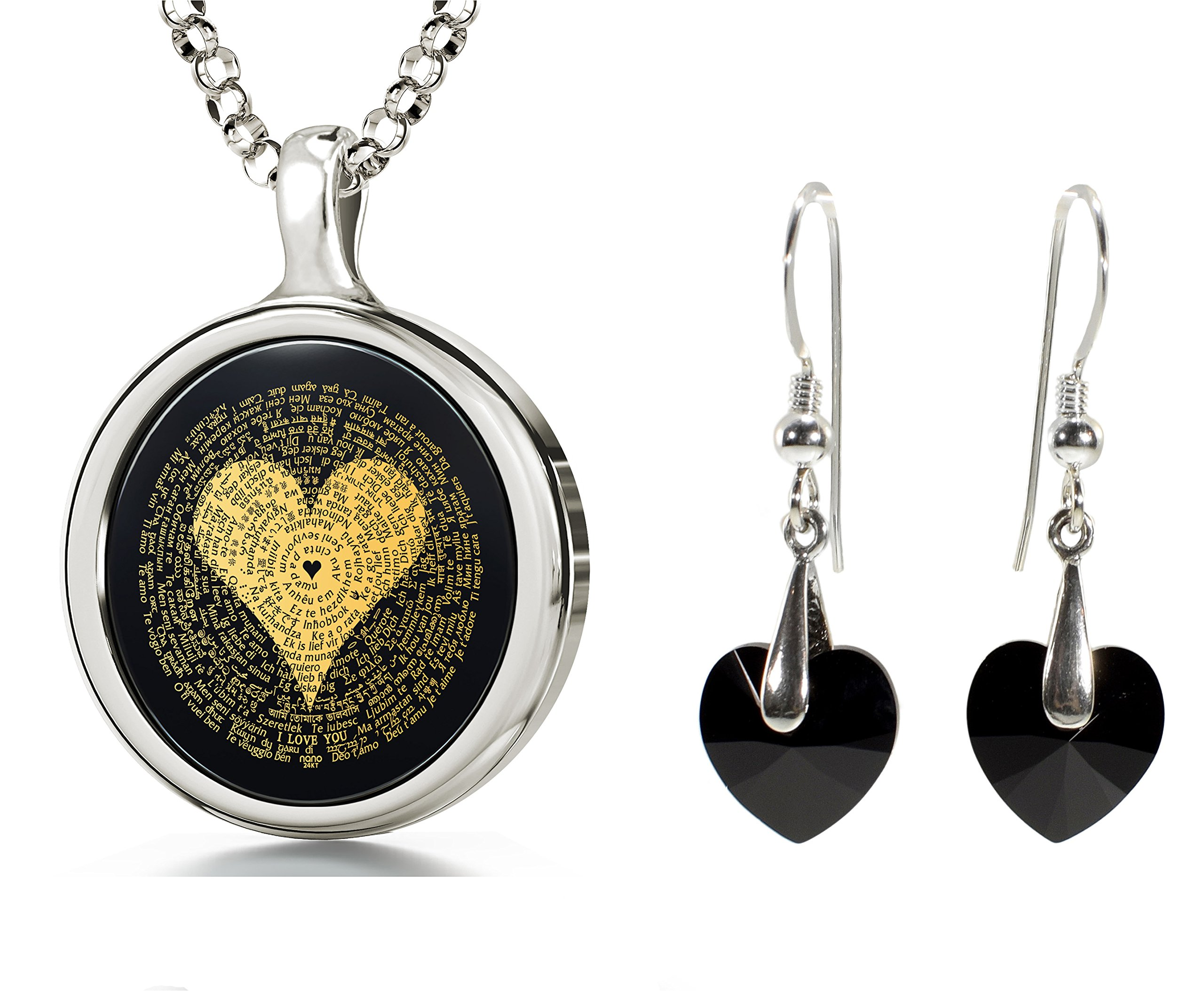 925 Sterling Silver I Love You Necklace in 120 Languages and Black Crystal Heart Earrings Jewellery Set, 18''
