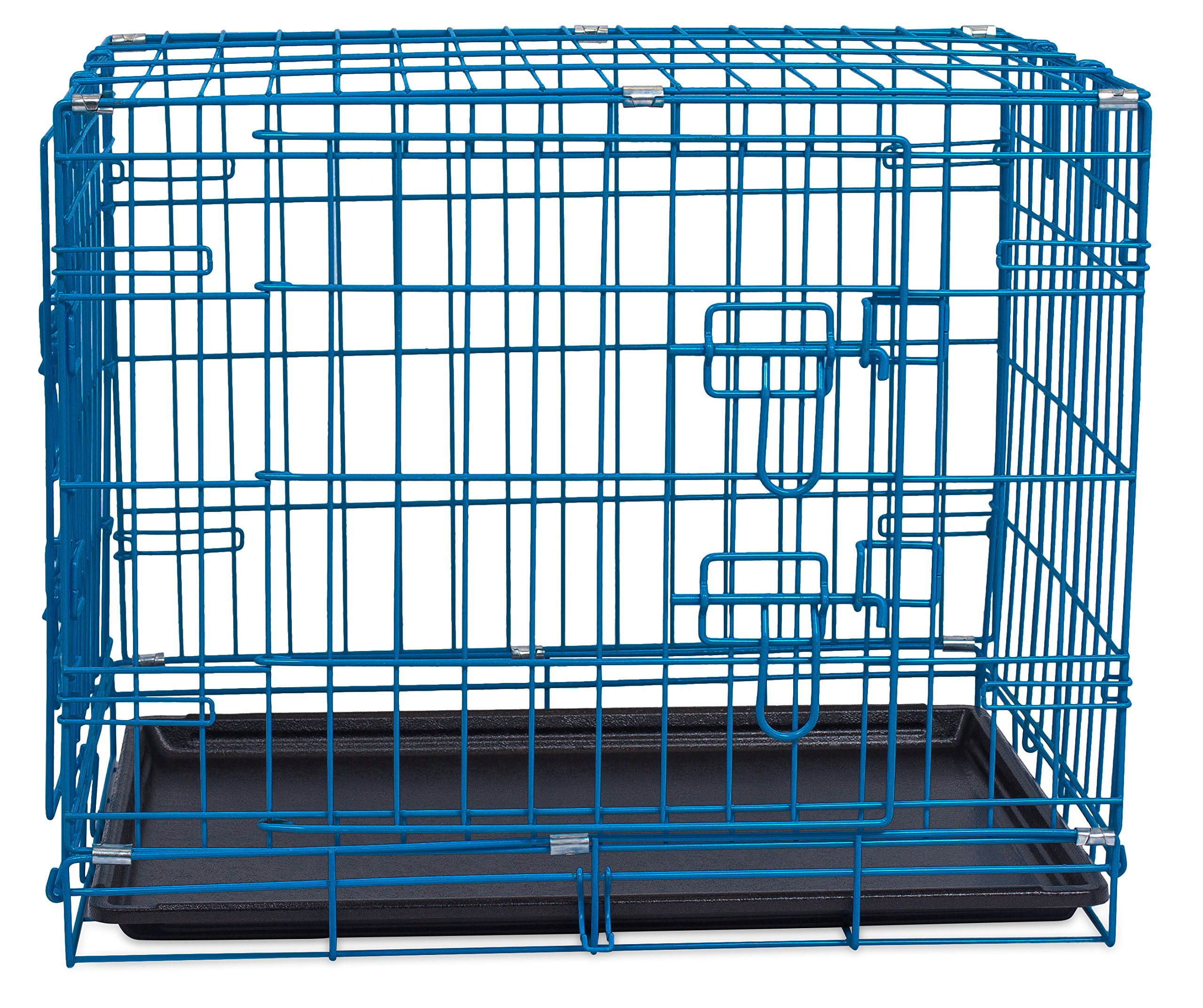 Internet's Best Double Door Steel Crates Collapsible and Foldable Wire Dog Kennel, 24 Inch (Small), Blue by Internet's Best (Image #8)