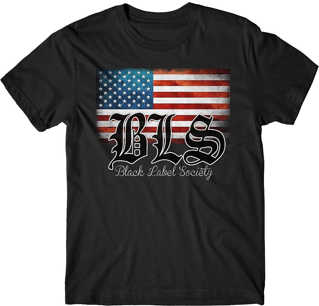 LaMAGLIERIA Camiseta Hombre Black Label Society USA Flag - Camiseta Rock 100% algodòn, S, Negro: Amazon.es: Ropa y accesorios