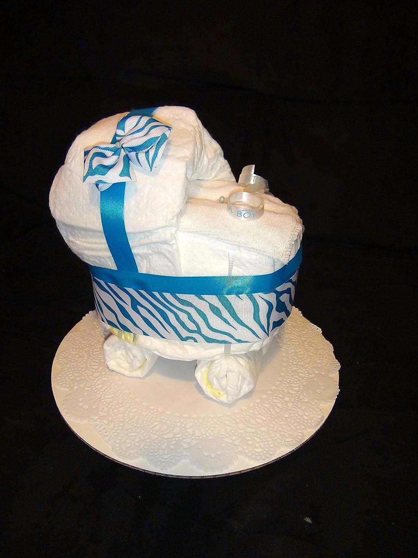 Amazon Com Diaper Cake Stroller Centerpiece Baby Blue By Little