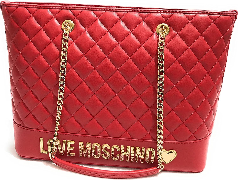 Borsa Shopping Moschino nappa trapuntata Rosso