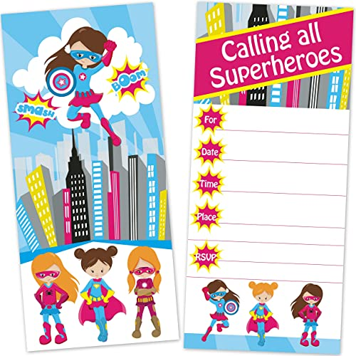 Girls Superhero Birthday Party Invitations (12 Count with Envelopes) - Large 4 x 9 Inches