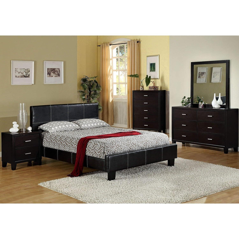 Amazon com furniture of america geriza modern 4 piece espresso bedroom set california king kitchen dining