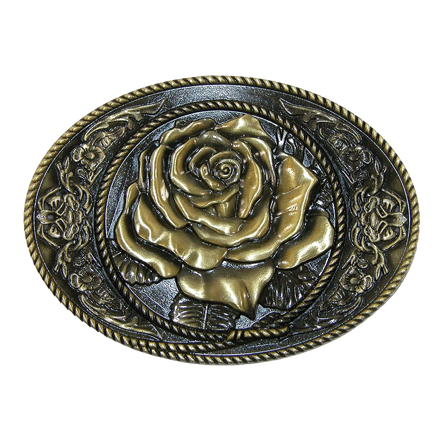 CTM® Women's Western Rose Belt Buckle, Silver RR-1461-SIL