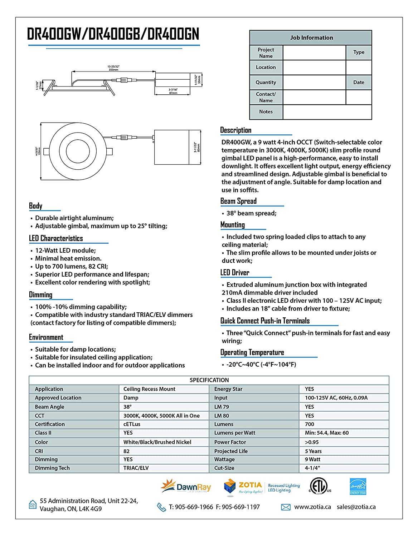 DawnRay 4 Round Super-Thin Gimbals LED Downlight, 9W, 3000K/4000K/5000K Swtichable, 650LM, Airtight (White)
