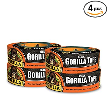 "Gorilla Tape, Black Duct Tape, 1.88"" x 35 yd, Black, (Pack of 4)"