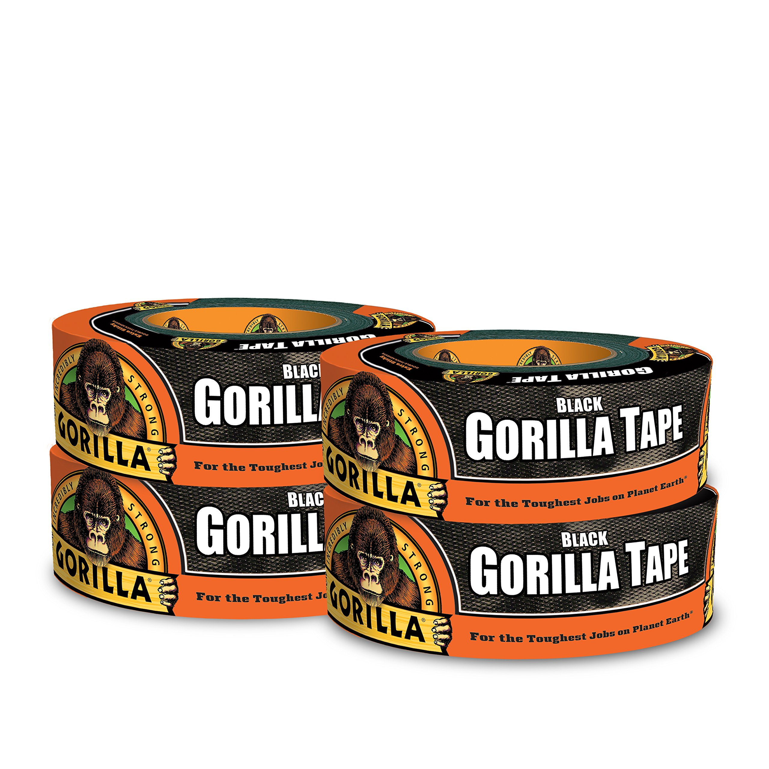 Gorilla Tape, Black Duct Tape, 1.88'' x 35 yd, Black, (Pack of 4)