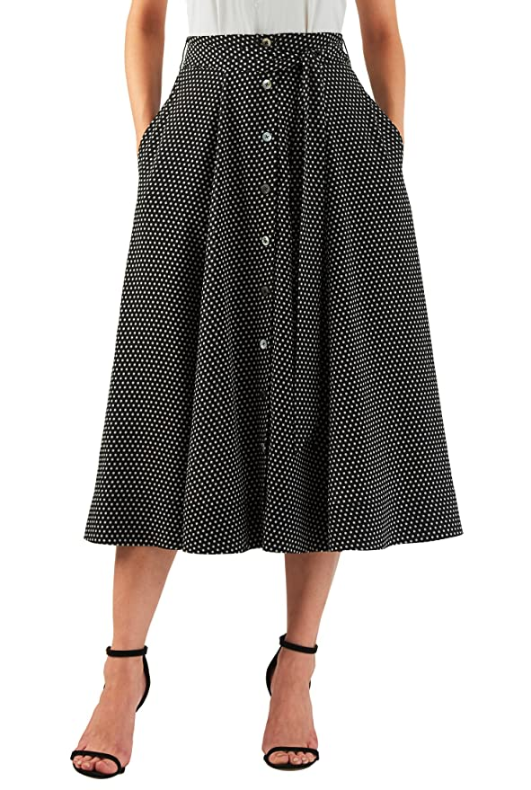 Retro Skirts: Vintage, Pencil, Circle, & Plus Sizes eShakti Womens Polka dot georgette button front midi skirt $53.95 AT vintagedancer.com