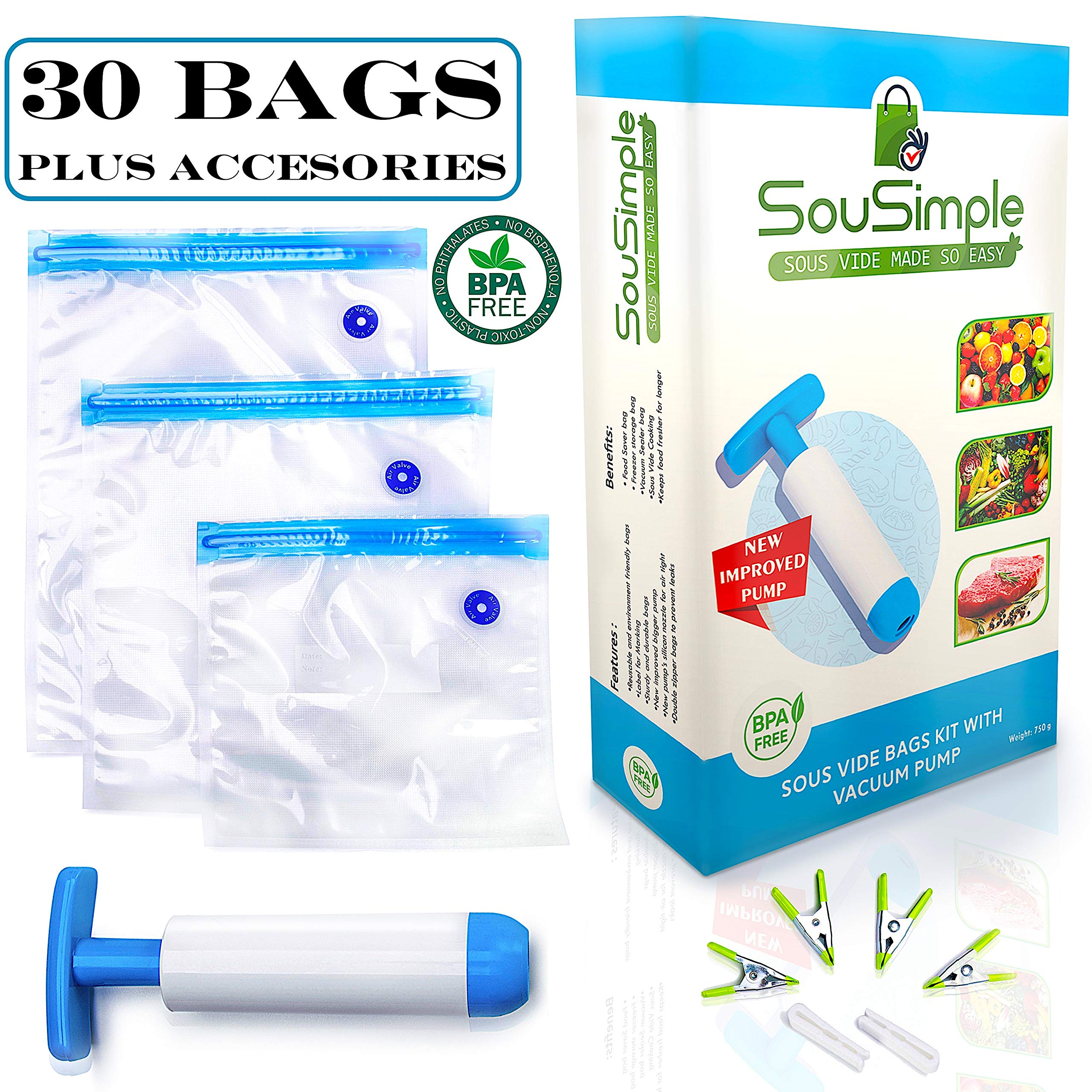Sous Vide Bags BPA Free - 30 Reusable Vacuum Food Storage Bags - 3 Sizes Sous Vide Bag Kit for Anova and Joules - NEW PUMP Design by SouSimple