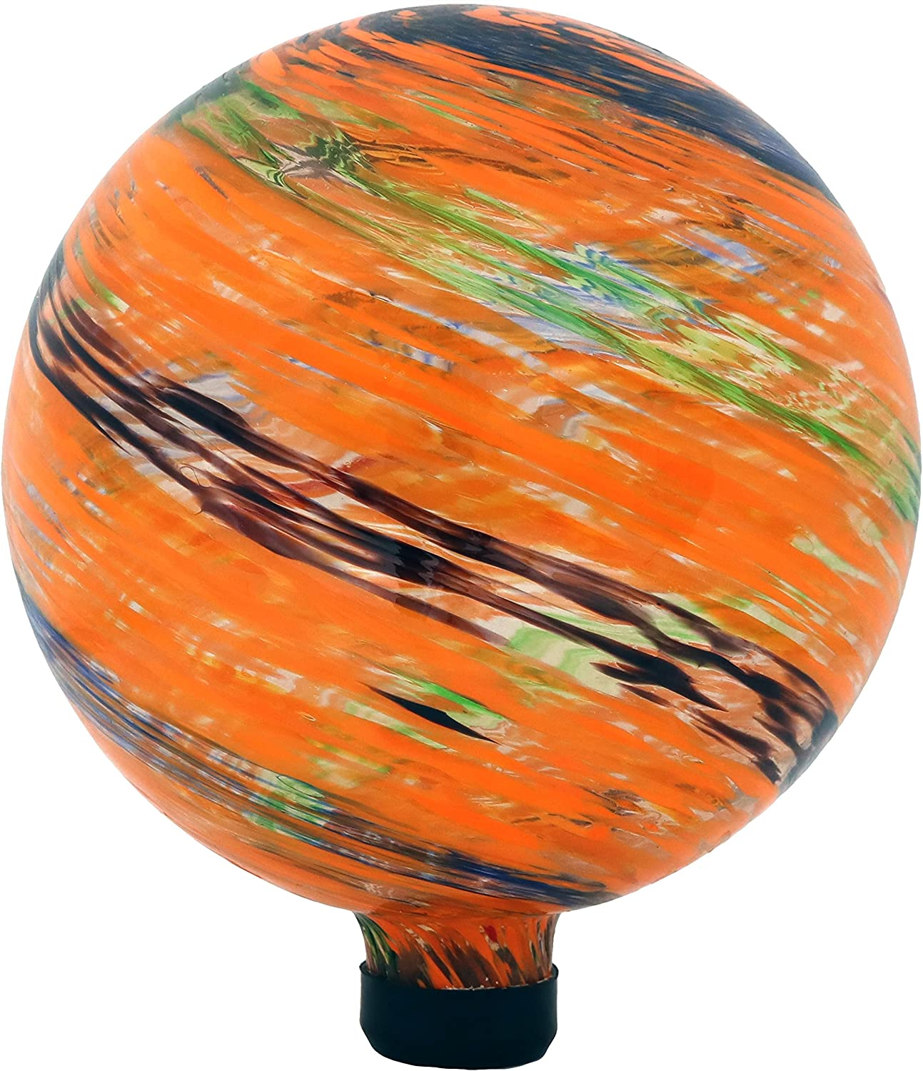 Sunnydaze Sunset Sky Gazing Globe Glass Garden Ball, Outdoor Lawn and Yard Ornament, 10-Inch