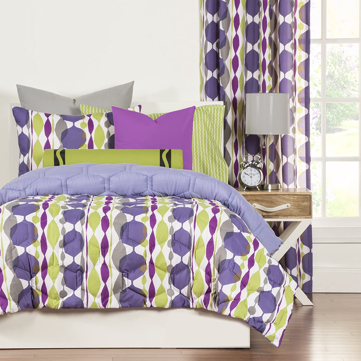 HT 2 Piece Multi Color Geometric Comforter Set Twin, Green Grey Purple White Graphic Medallion Stripe Jeweled Teen Themed Reversible Kids Bedding For Bedroom Modern Casual Colorful, Microfiber