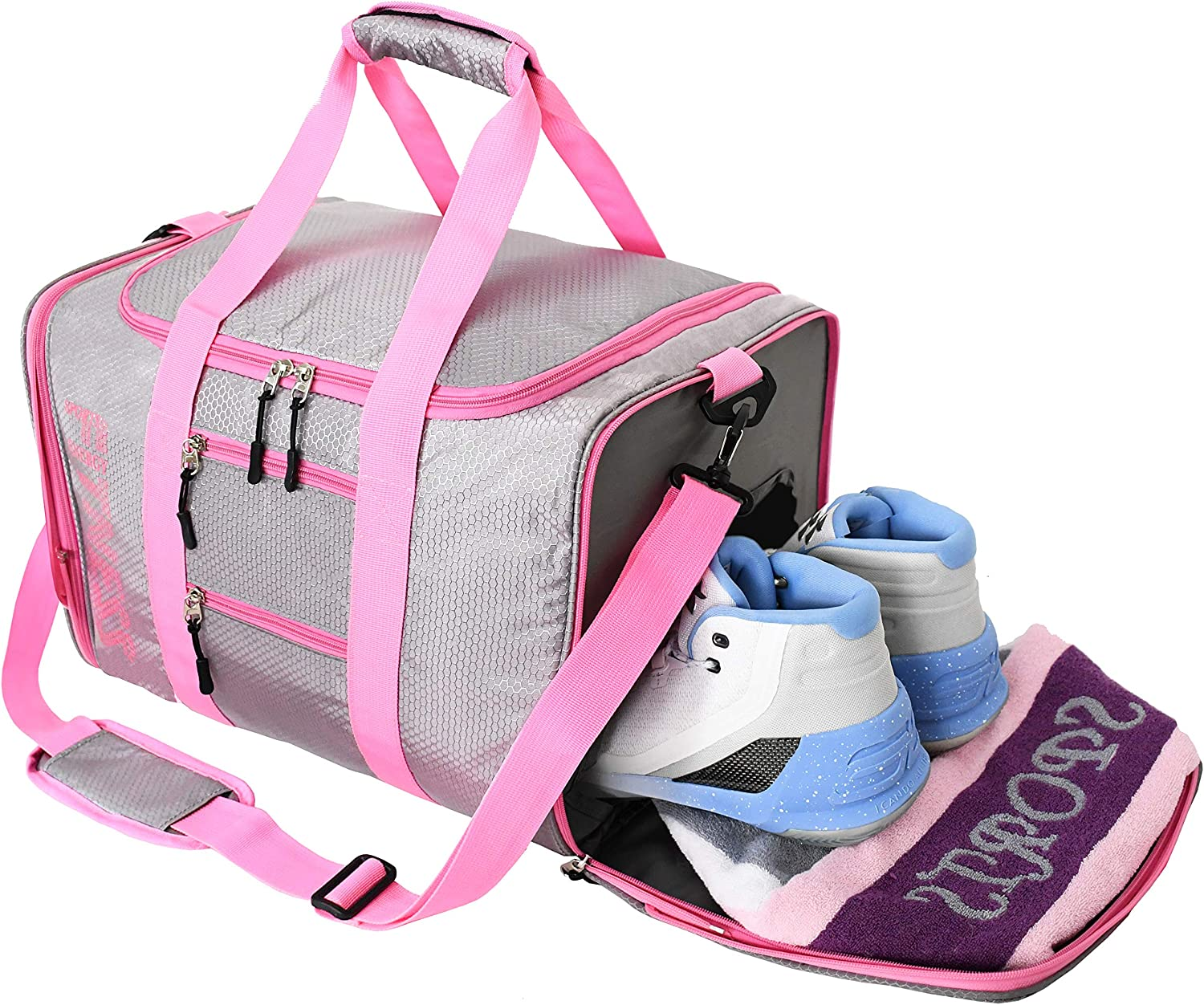 Expandable and foldable gym bag with shoe compartment gym bag with wet compartment gym bag for women and men foldable duffle bag