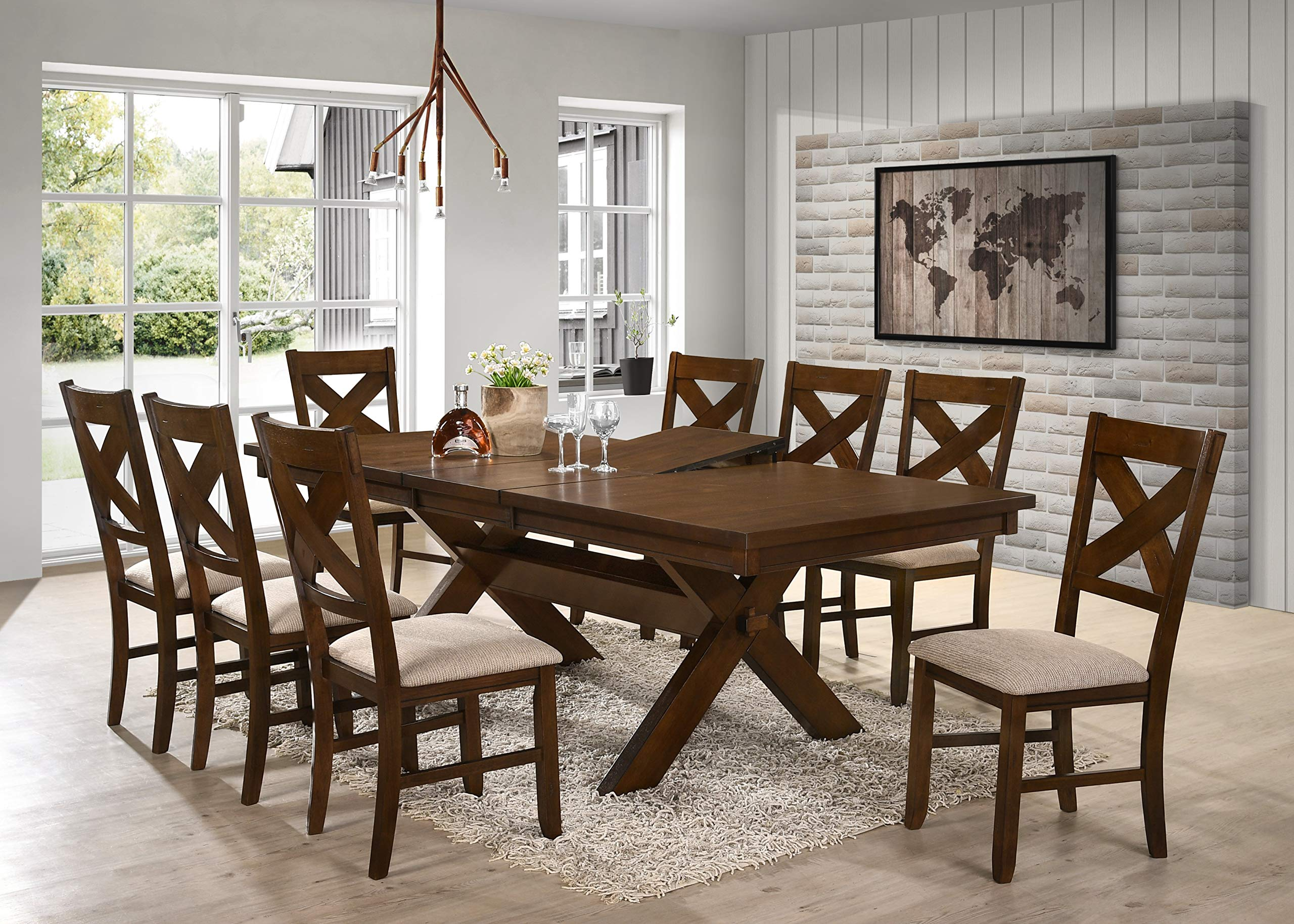 Roundhill Furniture Karven 9-Piece Solid Wood Dining Set with Table and 8 Chairs by Roundhill Furniture (Image #2)