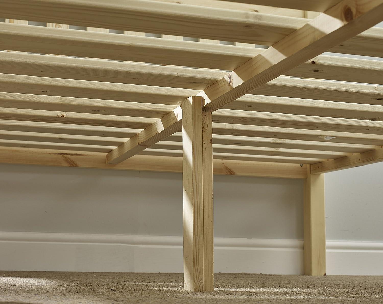 Cama de pino doble 121,92 cm cama colchón viscoelástico - con marco de madera de pino maciza. Con base sólida de listones y centro barra - uso para tareas pesadas: Amazon.es: Hogar