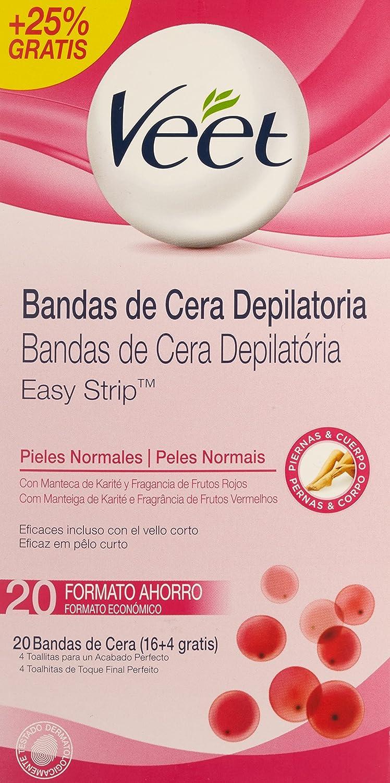 Veet 49961 - Bandas de cera depilatoria pieles normales, 20 bandas: Amazon.es: Salud y cuidado personal